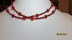 29 Inch Handcrafted Beaded Necklace. Red Round Beads With Red Seed Beads