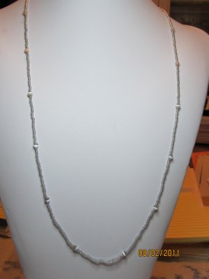30 Inch Silver Seed bead Necklace With Grey And White Moonstone