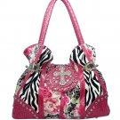 Animal & flower print rhinestone cross accent shoulder bag