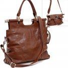 Tall foldable satchel handbag    Brown