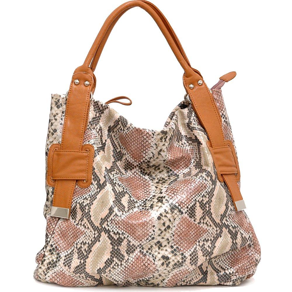 Two-Tone Python Embossed Tote Bag              DK. Python / Brown