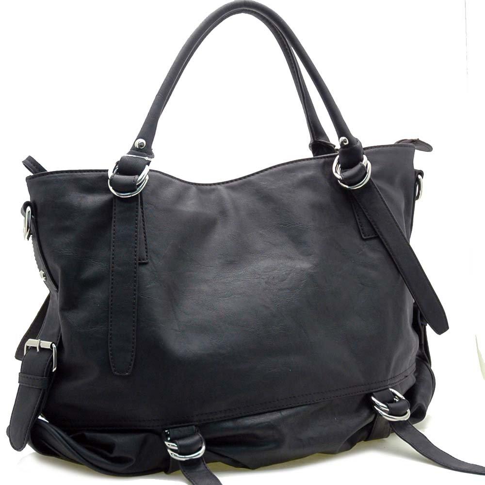 Belt Side Accented Tote Bag                       Black