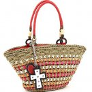 Summer straw-woven tote w/ heart and cross accent     Red