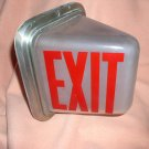 Vintage Triangular Lighted Glass Exit Sign Fixture
