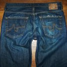 "Mens AG Adriano Goldschmied ""Protege"" AGed 3 Yr Dark Slim Straight Jeans 32 x 34"