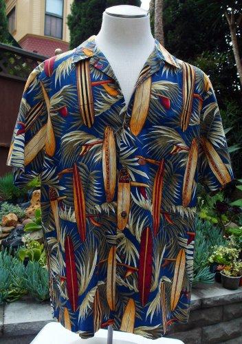 RJC Vintage Hawaiian Bright Surf Board Print Cotton Camp Beach Shirt Size XL
