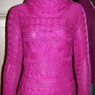 Womens Banana Republic Alpaca Wool Cowl Neck Cable Knit Pink Sweater Size XS