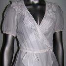 Rebecca Taylor Sheer Cotton Ruffle Top Short Sleeve Shirt White Blouse Size 4