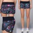 NEW LULULEMON Run Speed Shorts CURIOUS JUNGLE Gym Running Crossfit Size 4
