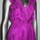 REBECCA TAYLOR Silk Fuchsia Ruffle Sleeveless Top S Cinch Waist Shirt Size 2