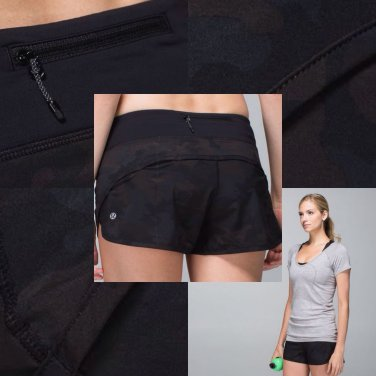 Lululemon RUN SPEED SHORTS Size 4 Savasana Camo Black Gym Crossfit NWT