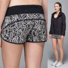 NEW Lululemon RUN SPEED SHORTS Pretty Palm Black Angel Running Crossfit Size 8