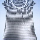 BANANA REPUBLIC V-Neck Tunic Top Stripe Short Cap Sleeve Tee Size XS