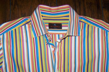 Etro Milano Men's Multi Color Striped Long Sleeve Shirt 41 Size M