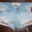 Hollister Hot Mini Denim Short Shorts Hippie Exposed Studded Pockets Size 0 24