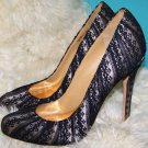 Badgley Mischka Womens Black Lace Satin Heels Pumps Shoes Size 9