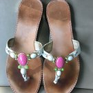LILLY PULITZER LEATHER FLIP FLOP THONG SANDALS SIZE 8