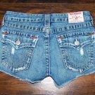 True Religion Daisy Duke Cut Off Low Rise Denim Jean Shorts Size 27