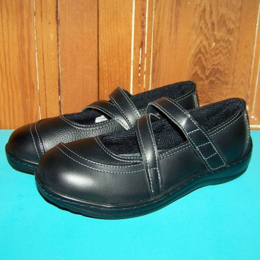 Orthofeet Celina Black Leather Diabetic Orthopedic 865 8.5 Wide Mary Jane Shoes