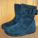 FitFlop Superboot Short Black Suede Pull On Boots Size 6
