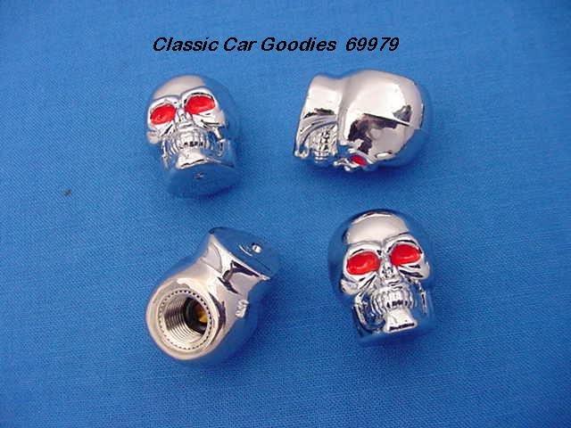 """Tire Valve Caps """"Chrome Skulls"""""""