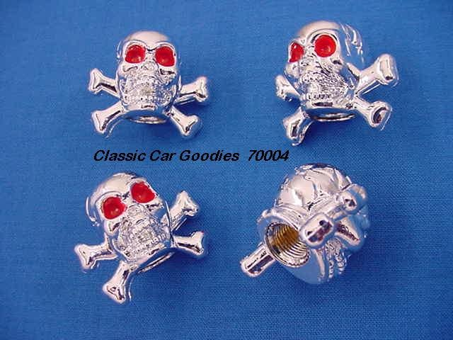 "Tire Valve Caps ""Chrome Skull and Bones"""