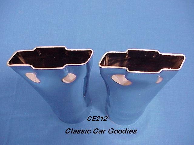 """Chevy """"Bowtie"""" Logo Exhaust Tips Chrome 2 1/2"""" Inlet"""