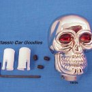 "Shift Knob ""Skull Chrome"" Red Eyes Evil Goth Devil"