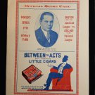 Fenway Park World Series 1918 Official Score Card