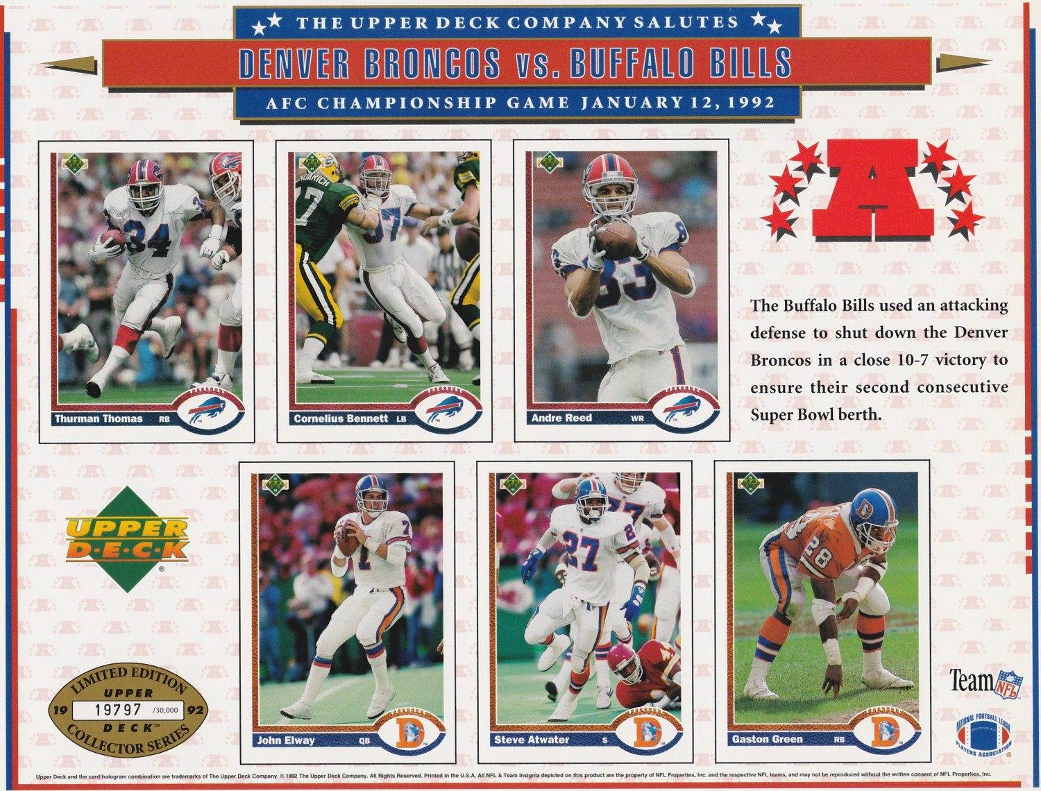 1992 Denver Broncos Vs Buffalo Bills Upper Deck Collectors Sheet