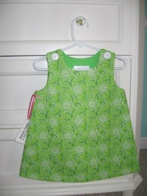 12-18 Months Green & White Seersucker Dress