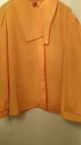 Womens Classic Collection yellow long sleeve sheer dress blouse sz 16