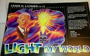African American inventor poster Lewis H.Latimer inventor Electric lamp