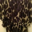 Womens Johns sheer purple/black /cream sz large dress blouse