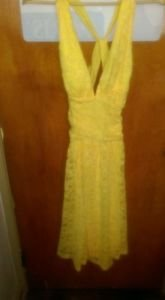 Women's size 12 Pointe yellow lace halter Sundress