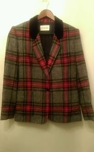 Womens JH Collectibles herringbone tweed plaud blazer suit jacket coat sz large