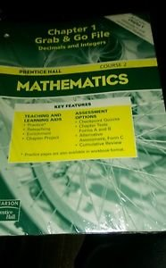 Prentice Hall Mathematics Course 2 Grab & Go File Decimals and Integers Cha 1-12