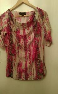 Womens Isabella Rodriquez cow neck multi color blouse size M