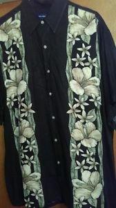 John Ashford mens Hawaiian black and floral short sleeve button front shirt sz L