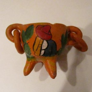 Vintage Mexican redware eared Tripod painted sleeping man pot with rings