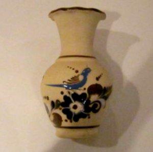 Mexican Tonala Pottery Bluebird Vase El Palomar signed