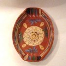 Vintage Mexican red ware clay pottery serving dish