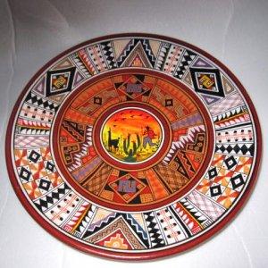 Adalid folk art pottery plate hand painted Brazil wall decor plaque Llama
