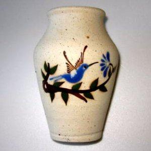 Small Mexican Tonala Pottery Bluebird Jar Vase