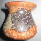 Kenyan Soapstone pottery jar vase Abstract etched Patchwork design design