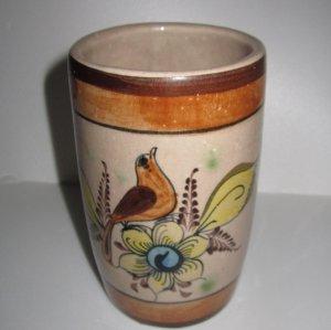 Tonala El Palomar Vase Mexican stoneware pottery Jar tumbler