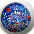 Mexican painted clay pottery lidded round trinket bowl box sun moon stars whatnot