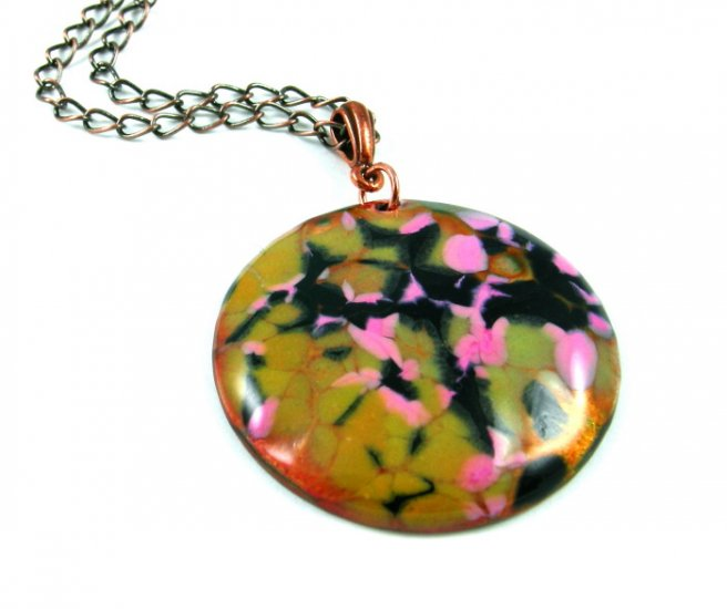 Enameled Copper Pendant Necklace Olive Pink Black Round Abstract Handcrafted OOAK Art Jewelry