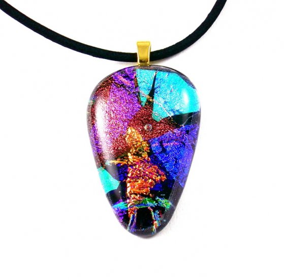 Dichroic Glass Pendant Necklace Copper Violet Teal Gold Black Leather Handcrafted Art Jewelry