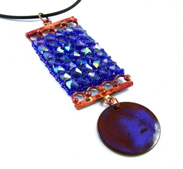 Tanzanite & Copper Pendant Choker Necklace Swarovski Leather Beads Purple Weave Art Jewelry